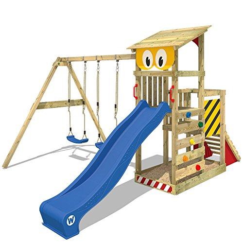 WICKEY Spielturm Smart Scoop Kletterturm Klettergerüst mit Rutsche, doppelter Schaukel, Kletterwand und Sandkasten, blaue Rutsche + gelb-rote Plane