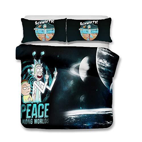 XWXBB Rick and Morty Rick Sanchez Morty Smith Bedding Sets Duvet Cover and Pillowcase Set, A07, Single150x200cm