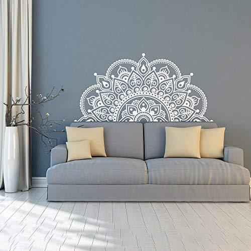 WSLIUXU Adesivi murali Adesivi murali in vinile impermeabile Yoga Studio Decorazione Camera da letto Testiera Mandala rimovibile Adesivi murali Giardinaggio domestico Bianco 115x57cm