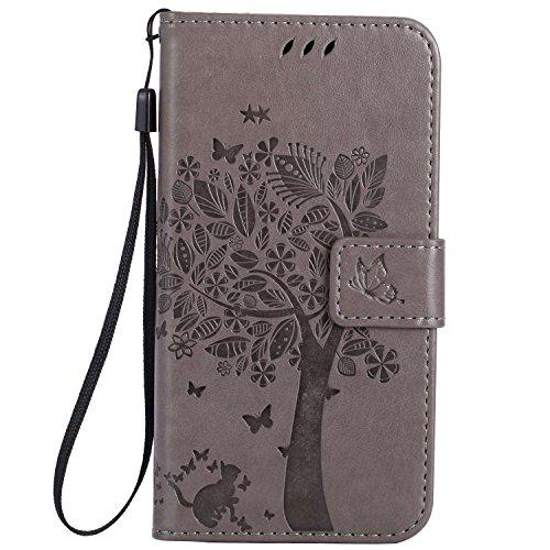 Guran® PU Leder Tasche Etui für Xiaomi Mi5 Smartphone Flip Cover Stand Hülle & Karte Slot Hülle-grau