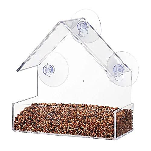 Mangiatoia per Uccelli Trasparente Automatica, Alimentatore per Uccelli Selvatici Sospeso, Acrylic Window Bird Feeder,Mangiatoia per Uccelli Acrilico Finestra con Ventosa Forte (B)