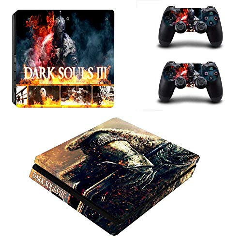 Playstation 4 Slim Skin Set - Dark Souls 3 HD Printing Vinyl Skin Cover Protective for PS4 Slim Console and 2 PS4 Controller by Mr Wonderful Skin