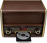 ClearClick Retro FM Radio with CD Player, Bluetooth, Aux-in - Classic Vintage Style