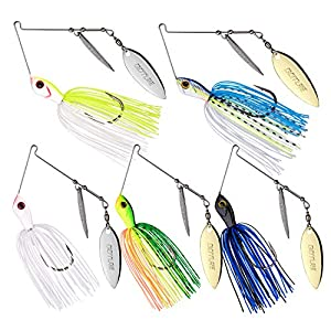 Goture Fishing Lures for Bass Metal Spinner Baits Double Willow Blade Spinnerbait 3/8oz (5 Pack)