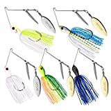 Goture Bass Fishing Lures Metal Spinner Baits Double Willow Blade Spinnerbait 3/8oz (5 Pack)
