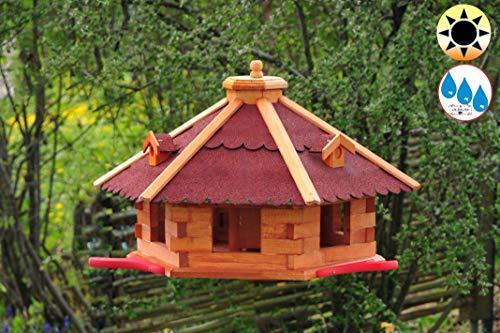BTV Ölbaum Garten-Vogelhaus-Blockhaus, XXXL 75 cm mit Anflugbrett + LED rot, Anflugbrettchen