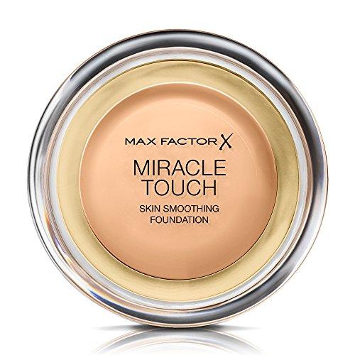 Max Factor Miracle Touch Foundation Golden 75 – Grundierung, die von fest zu flüssig wechselt – Für einen absolut ebenmäßigen Teint – 1 x 12 ml
