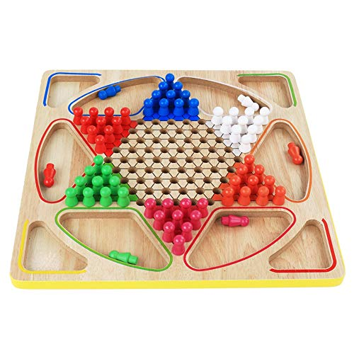 Ryyland-Home Dame Spiel Hölzerne Multi-Funktions-2-in-1 Checkers Fliegen Backgammon Brettspiel Lernspielzeug Chinese Checkers (Color : True Color, Size : Free Size)