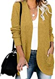 YIBOCK Womens Long Sleeve Open Front Waffle Chunky Knit Draped Cardigan Sweater Outwear with Pockets Mustard