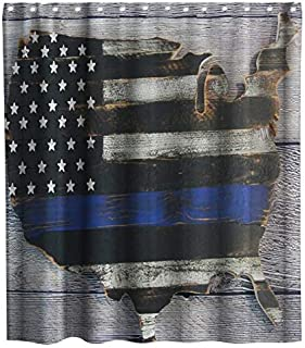 Final Friday American Flag Grey Wooden Stripe Farmhouse Theme Fabric Shower Curtain Sets Bathroom Decor with Hooks Waterproof Washable 70 x 70 inches Blue Black and White