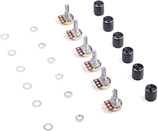 20 Satz Aluminiumlegierung Schwarz Knopfkappe B10K 10K Ohm R/ändelwelle Linear Drehkegel Potentiometer WH148 Kit