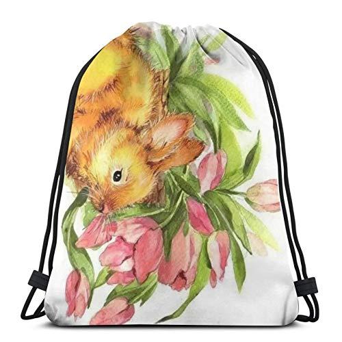 fenrris65 Bolsa con cordón, diseño de conejo, flores, tulipanes, animal, para hombre y mujer