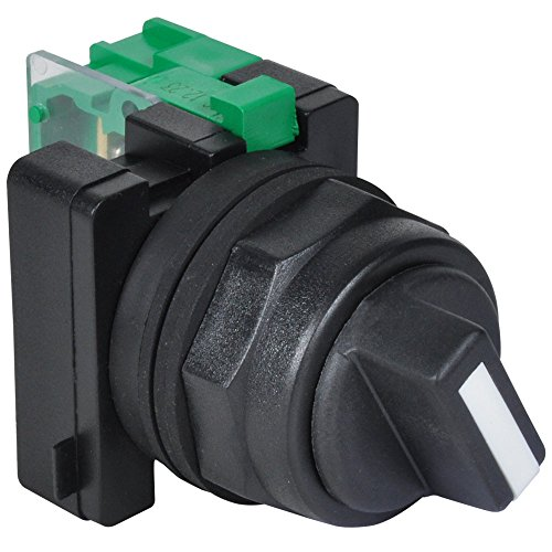 c3controls SSO2-SHWE-NO Non-Illuminated Selector Switch, 30mm, 2-Position Maintained, Black Polyester (Type 4X) Clamp Ring, Black Color Standard Handle w/White Color Insert, 1 Normally Open Contact