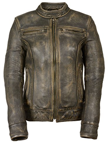 Shaf Womens Distressed Leather Vented Scooter Jacket Brown