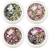 HFJ10XZALAUREN Unghie con Strass Diamanti Perline Fiocco di Arte del chiodo di Strass Strass per Unghie Paillettes per Unghie Star Moon Metal Glitter per Decorazioni di Nail Art Fai da Te 4 scatole
