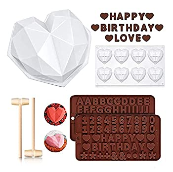 Diamond Heart Mousse Cake Mold Trays Premium Silicone Breakable heart Mold Letter Number Molds for Chocolate with Hammers Heart Shaped Molds for Valentine Candy Making