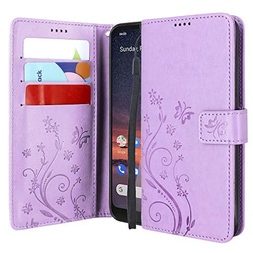 Cmid Coque Nokia 3.2, PU Cuir Portefeuille Housse Rabat Antichoc Pochette Protector Etui Case Cover avec Support pour Nokia 3.2 6.26'' (Violet)