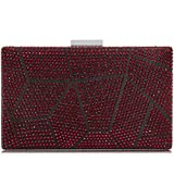 Yekajlin Women Clutches Crystal Evening Bags Clutch Purse Party Wedding Handbags (Red), Small