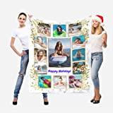 Happy Holidays Custom Blankets with Pictures Personalized Blanket with 1-15 Photos Collage and Text.Customized Blankets Gift for Sister,Friend,Holidays,Wedding,Birthday,13 Photos Collage,40x50inch