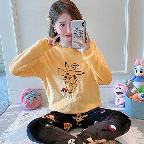 Cxypeng Weich Warm Samt Pyjamas,Damen Herbst Cartoon Flanell Pyjama, dünne Fleece...