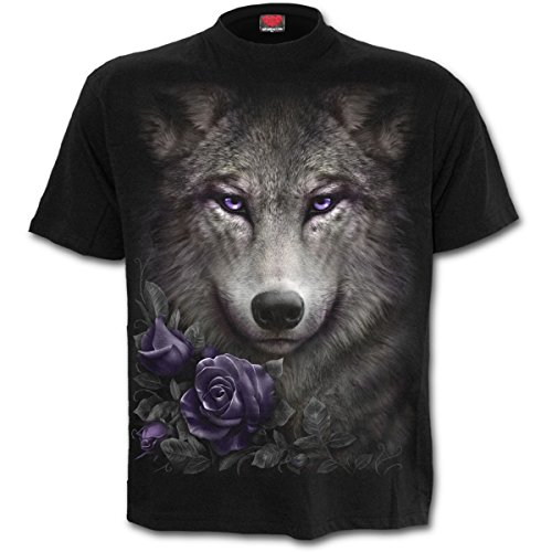 Spiral Direct Wolf Roses-Front Print T-Shirt Camiseta, Negro (Black 001), 52 (Talla del Fabricante: XX-Large) para Mujer