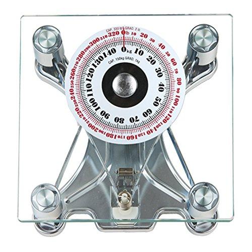 SONVADIA Bilancia meccanica quadrata, per il bagno, in vetro