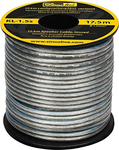Sinuslive KL-1,5S luidsprekerkabel 2x 1.5mm2 zilver 17.5m