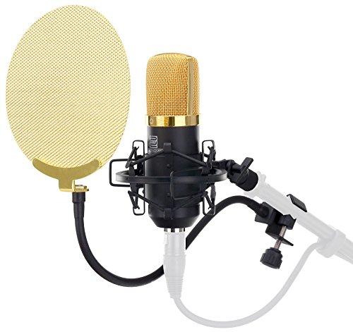 Pronomic CM-22 Studio Großmembranmikrofon XLR-Kondensatormikrofon inkl. Popkiller SET (inkl. Mikrofonspinne, Etui, Windschutz, Transportkoffer, Reduziergewinde und Mikro Popschutz gold) schwarz