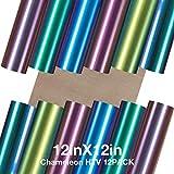 HTV Chameleon Heat Transfer Vinyl Bundle 12 Packs 12'x12' Iron On Vinyl for T-Shirt 6 Assorted Chameleon Gradient Change Color PU HTV Sheet for Cricut, Silhouette Cameo