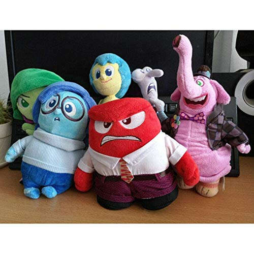QIERK 6 Piezas de muñecos de Peluche Dentro y Fuera, alegría, ira, disgusto, Cuerpo, Miedo, Miedo, Tristeza y Juguetes de Peluche de Tristeza