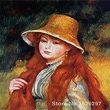 mmzki Galerie für Moderne Kunst Junges Mädchen mit Strohhut Pierre Auguste Renoir Gemälde Hochwertige handgemalte B 50x70cm