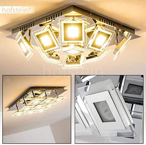 LED plafondlamp Cerreto, hoekige plafondlamp in chroom, 9-vlam met verstelbare lampkop in glas, 9 x 4 Watt, 400 Lumen (3600 Lumen in totaal), lichtkleur 3000 Kelvin (warm wit)