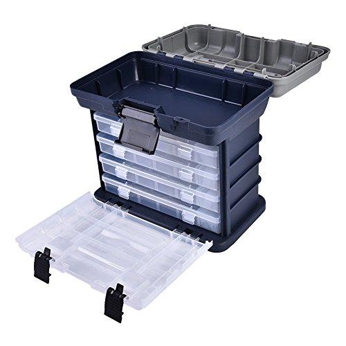 Yuehuam Angel-Utility-Boxen 4-Lagige Fischköder Locken Herausnehmbare Tabletts Und Verstellbare Trennwände zum Angeln von Booten Und zum Hochseefischen