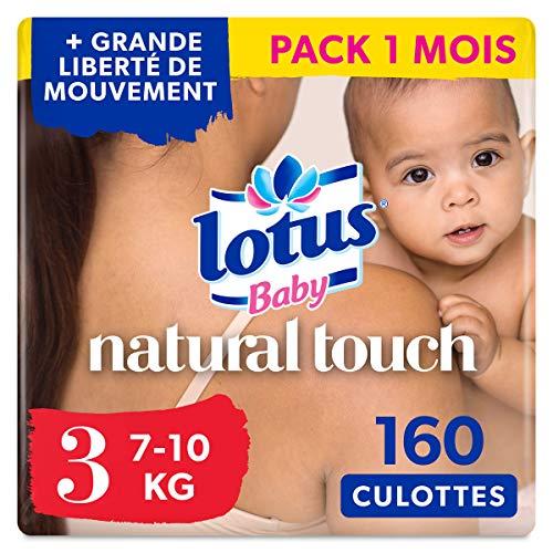 Lotus Baby Natural Touch - Culottes Taille 3 (7-10 kg) - lot de 4 packs de 40 culottes (x160 Culottes)