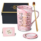 Best Friend Birthday Gifts for Women, Long Distance Friendship Gifts, Good Friends are Like Stars Coffee Mug, BFF Gifts for Her Bday, Friends Female, Bestie, 14 Oz Pink Cup Printed with Gold, Gift Box