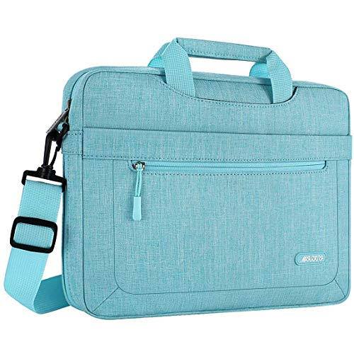 MOSISO Laptop Shoulder Bag Compatible with 13-13.3 inch MacBook Pro, MacBook Air, Notebook Computer with Adjustable Depth at Bottom, Polyester Messenger Carrying Briefcase Handbag Sleeve, Hot Blue
