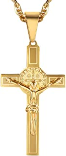 9f534906160 PROSTEEL Catholic Saint Benedict Cross Necklace, Engraved, 18K Gold Plated/316L  Stainless Steel