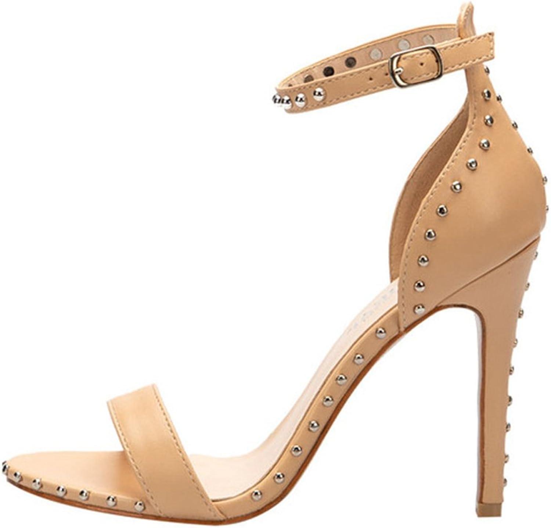 Genepeg Womens Sandals Gladiator High Heels Summer Peep Toe Rivet Thin Heeled Sandals Apricot
