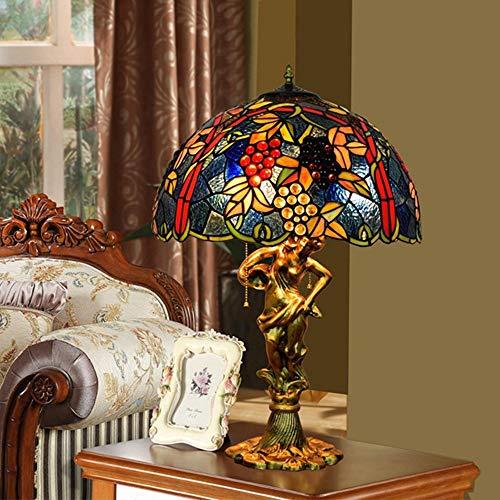 De enige goede kwaliteit Decoratie Creatieve Retro Tiffany Stijl Tafellamp In lood Glas Woonkamer Eetkamer Nachtlampje Blauwe Druif Tafellamp 43 * 64cm