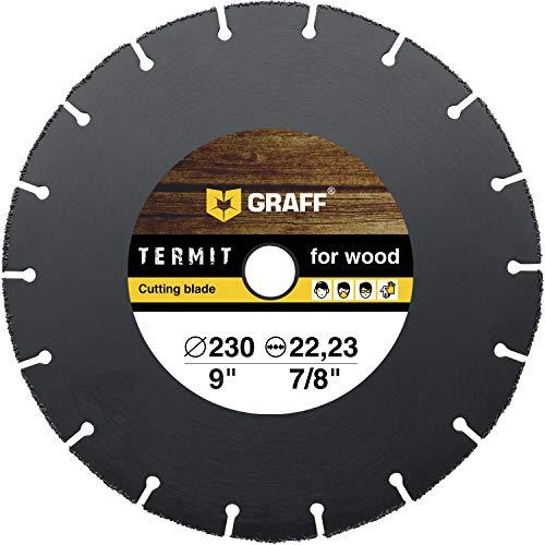GRAFF Termit - Disco in legno smerigliatrice 230 mm – Disco per troncare il legno per smerigliatrice angolare