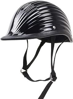 TEQIN Motorcycle Half Helmet Biker Skull Cap Helmet with Strap for Harley Motorcycle Electric Scooter Helmet Bright Black XXL