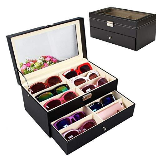 MUY Brille Transparente Aufbewahrungsbox 12 Cell PU Double Layer Fashion Sonnenbrillenetui Fashion Eye Glasses Vitrine
