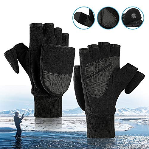 Ice Fishing Gloves Convertible Mittens,Flip Fingerless Mitt Half Fingers Gloves with Insulated Thinsulate |Men Women Winter Hunting & Fishing Apparel Guards for Cold Weather & Photography Running (M)