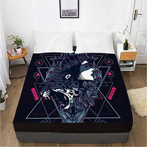 lhmlyl Sábanas Protector Digital del colchón de la sábana de la impresión 3D Animal 118-Negro-F_El 137x190x40cm