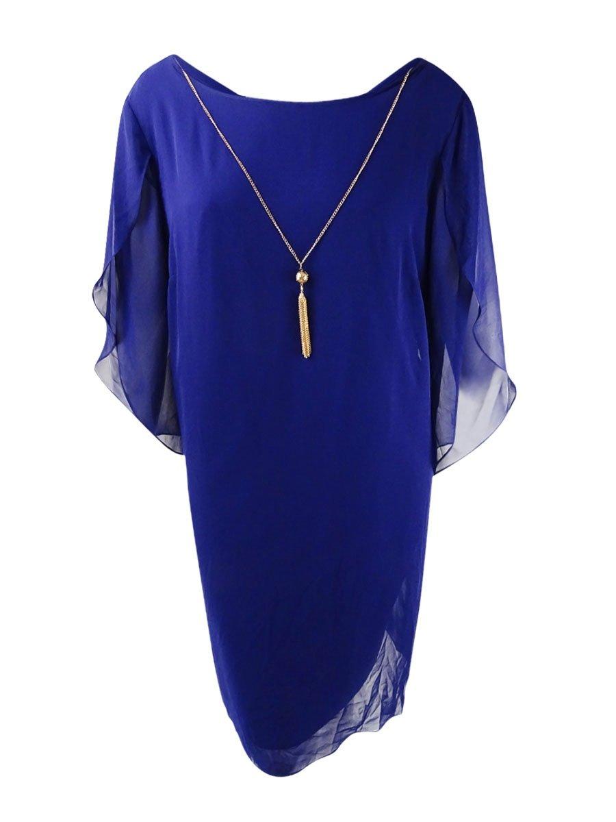 Available at Amazon: SL Fashions Women's Split-Sleeve Necklace Dress (12 Indigo)
