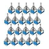 20x Miniatur Kippschalter | 2-polig | 6 Kontakte | 2X EIN-AUS-EIN | 6A 125V / 3A 250V | Metallhebel | Rastend | Umschalter mit Lötösen | 20 Stück
