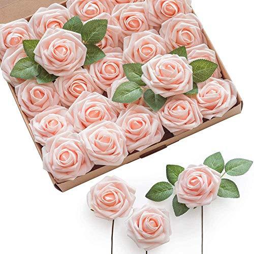 shirylzee Künstliche Rosen Blumen, 25 Stück Schaumrosen Foamrosen Rosenköpfe Kunstblumen Gefälschte Kunstrose für DIY Hochzeit Brautstrauß Blumensträuße Party Kommunion Tischdeko(Hell rosa)
