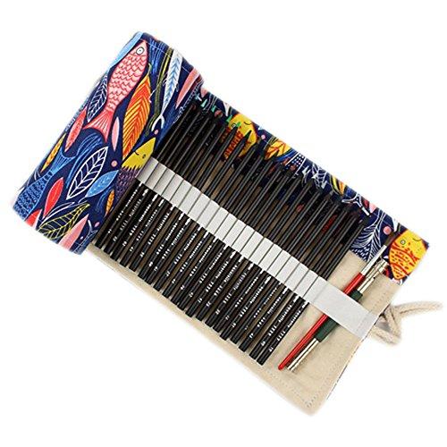 ONEGenug colorato Sacchetto della matita, 48 fori, Borsa per penne, Astuccio, Roll Up Pencil Pouch, Forniture per artisti, Borsa per matite colorate per dipingere, scrivere, disegnare, colorare, diseg