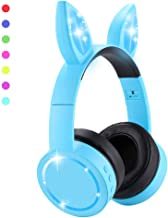 Wireless Cat Ear Headphones for Kids/Aduls,Foldable Over Ear Headsets Universal for iPhone/Android Devices,Color-Changing LED Lights,BT 5.1,Matt UV Oil Finish,Flashing with The Music Rhythm (Blue)