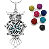 Maromalife Lava Stone Diffuser Necklace Owl Necklace Aromatherapy Pendant Locket 24 Inches Chain Gift Set with 7 Color Lava Rock for mom Women Girls
